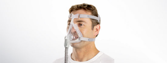 Man wearing full face CPAP Mask