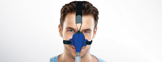 Man wearing cloth CPAP Mask