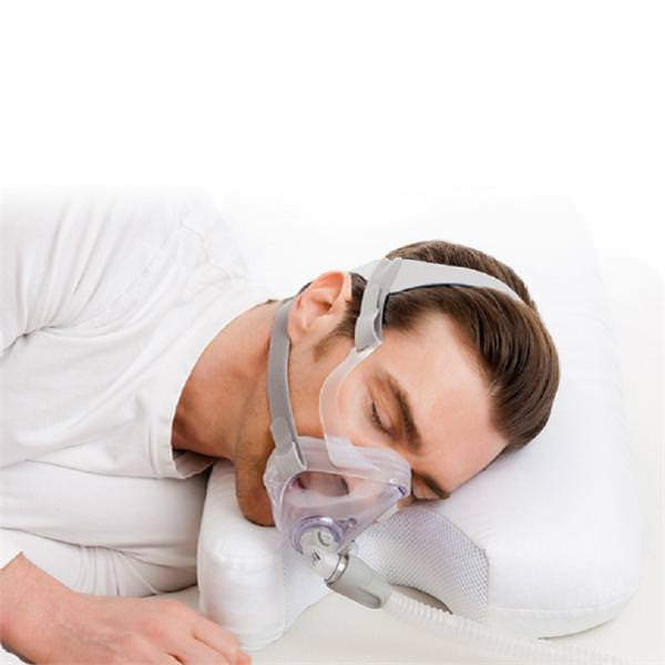 CPAP User Sleeping on CPAP Pillow