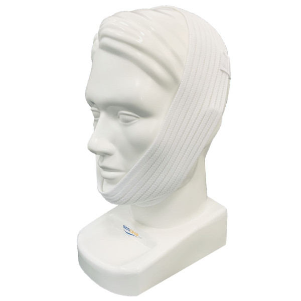 White Adjustable Chin Strap on Head