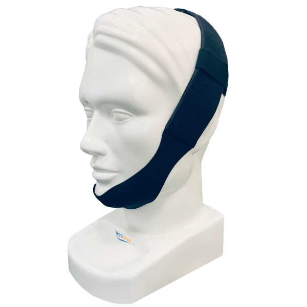 Black Adjustable Chin Strap on Head